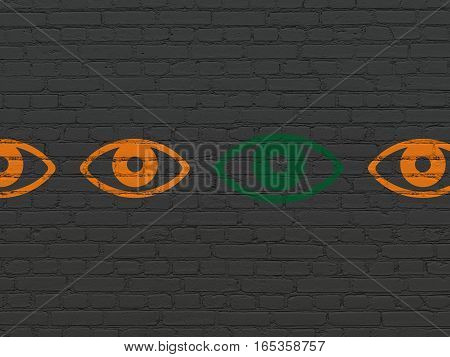 Security concept: row of Painted orange eye icons around green eye icon on Black Brick wall background