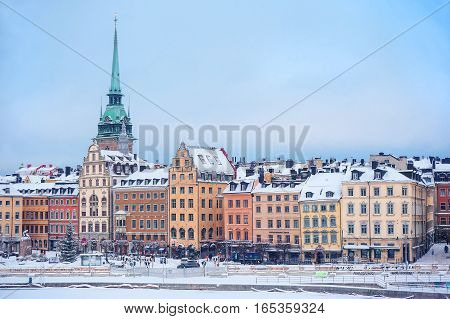 Facades of colorful houses on the waterfront in Stockholm's old town Sweden