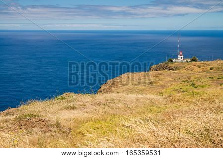 Lighthouse on most western part of Madeira at Ponta do Pargo