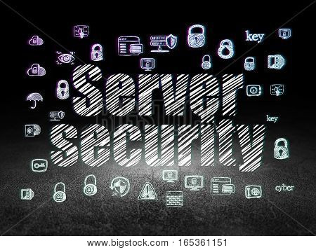 Privacy concept: Glowing text Server Security,  Hand Drawn Security Icons in grunge dark room with Dirty Floor, black background