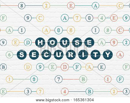 Safety concept: Painted blue text House Security on White Brick wall background with Hexadecimal Code