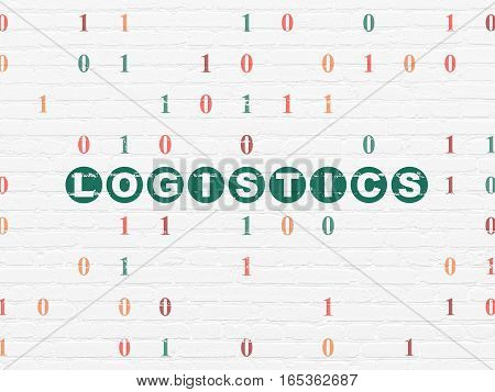 Business concept: Painted green text Logistics on White Brick wall background with Binary Code