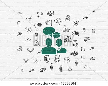 Finance concept: Painted green Business Meeting icon on White Brick wall background with  Hand Drawn Business Icons