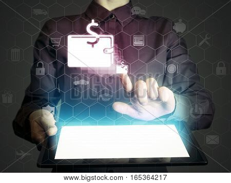 Image of a girl with a tablet in hands. She touches purse icon. online wallet concept storage online banking.