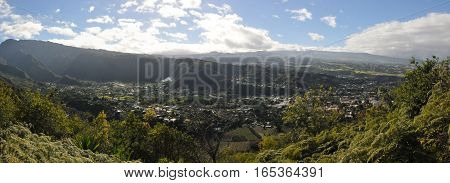 Wide View of Cafres Plain of Reunion Island with blue sky and clouds