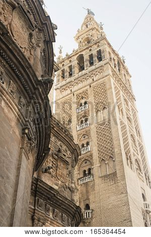 Sevilla (Andalucia, Spain), the Giralda, belfry of the medieval cathedral