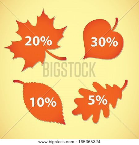 Autumn leaves. Large Autumn sale. Vector illustration. Set