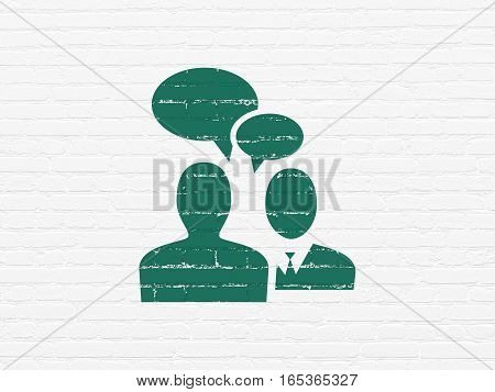 Business concept: Painted green Business Meeting icon on White Brick wall background