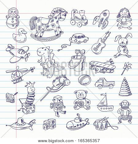 Freehand drawing retro toys items on a sheet of exercise book. Vector illustration. Set