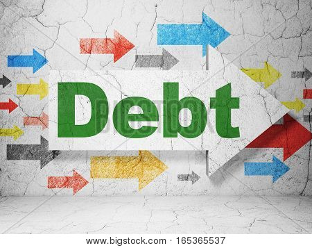 Finance concept:  arrow with Debt on grunge textured concrete wall background, 3D rendering