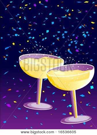 Vector illustration with two glasses of Champagne in a New Year celebration