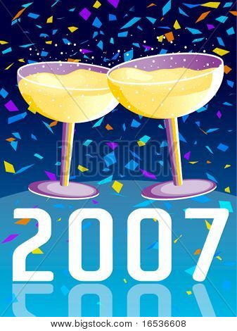 Vector illustration with two glasses of champagne in a new year celebration.