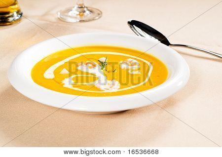 Pumpkin And Shrimps Cream Soup