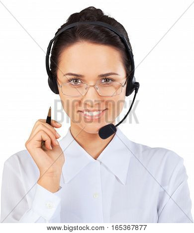 Woman Call Center Employee Talking on Headset - Isolated
