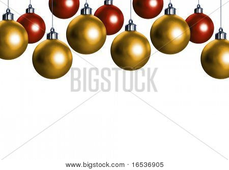 Many hanged red and golden christmas balls over a white background