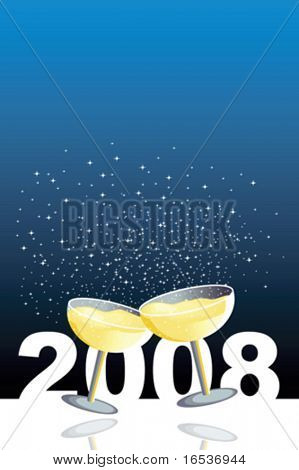 Vector blue illustration with two glasses of champagne in a new year celebration.