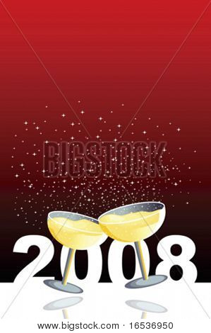 Vector red illustration with two glasses of champagne in a new year celebration.