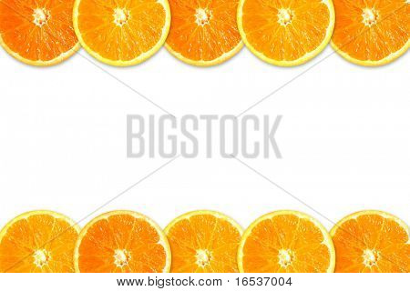 Two rows of orange slices isolated in white background
