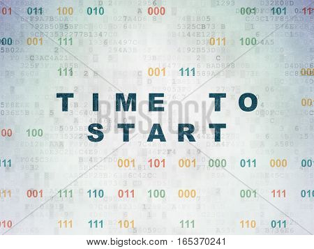 Time concept: Painted blue text Time to Start on Digital Data Paper background with Binary Code