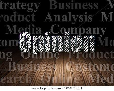 Advertising concept: Glowing text Opinion in grunge dark room with Wooden Floor, black background with  Tag Cloud