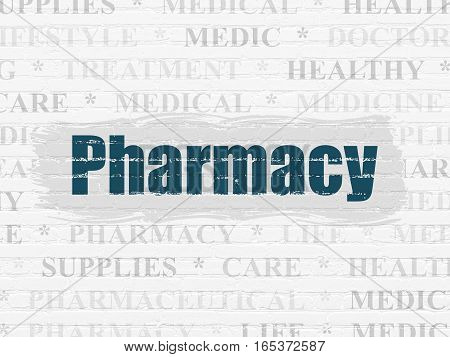 Health concept: Painted blue text Pharmacy on White Brick wall background with  Tag Cloud