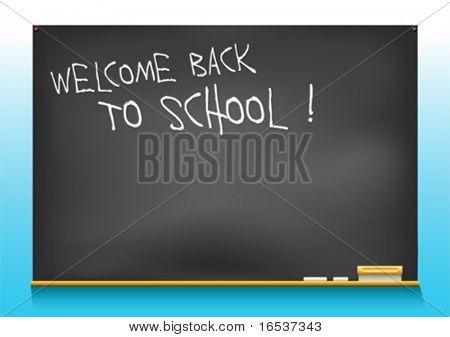 vector illustration of a school blackboard saying welcome back to school