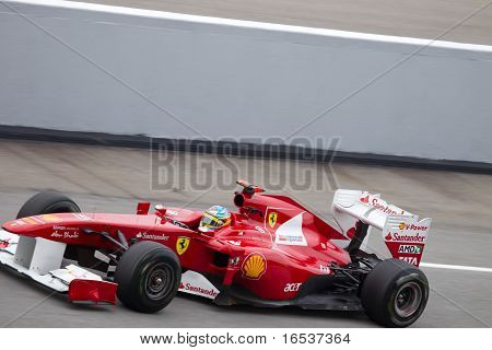 Fernando Alonso at a high speed straight