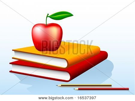 illustration of two books and a red apple on top