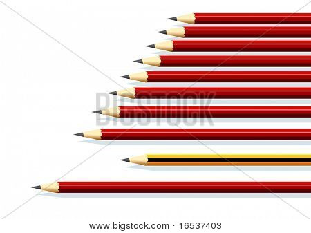 Illustration of a row of red pencils and a yellow one