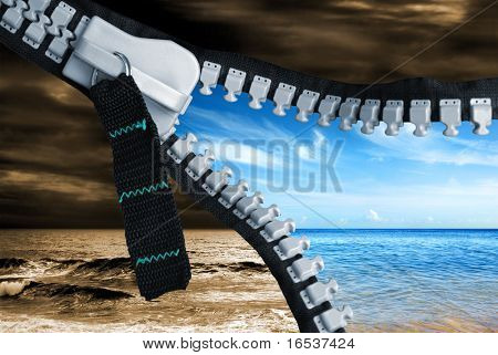 Bad weather turns good just by opening a zipper