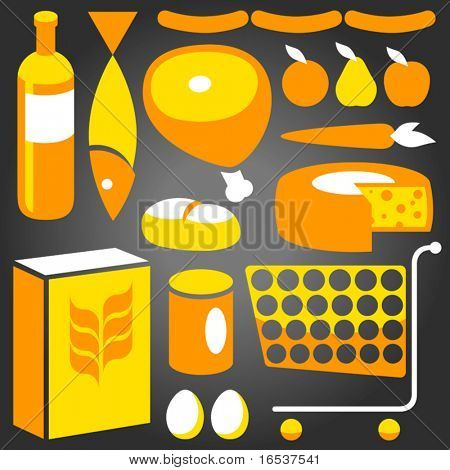 Illustration of assorted basic food supplies from a supermarket