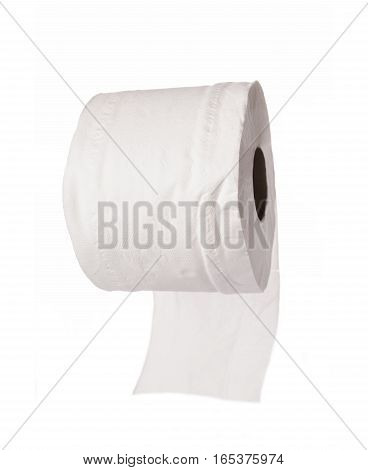 A roll of toilet paper isolated on white background