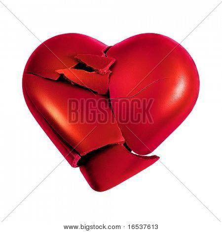 Foto com o coração partido isolado no fundo branco