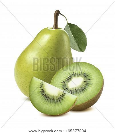 Green pear kiwi isolated on white background as package design element