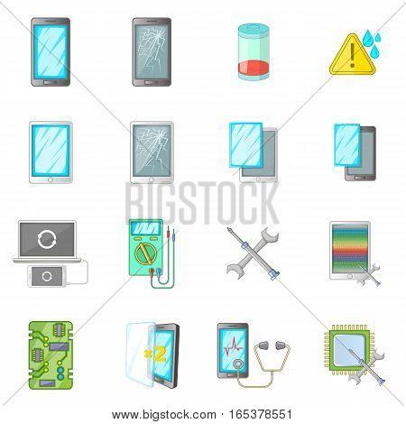 Broken phones fix icons set. Cartoon illustration of 16 broken phones fixl vector icons for web