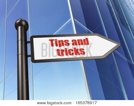 Education concept: sign Tips And Tricks on Building background, 3D rendering