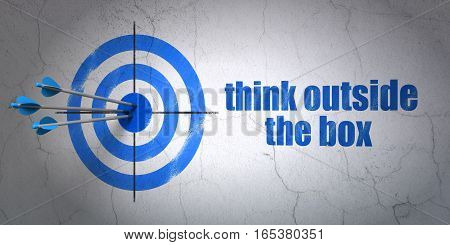 Success Education concept: arrows hitting the center of target, Blue Think outside The box on wall background, 3D rendering