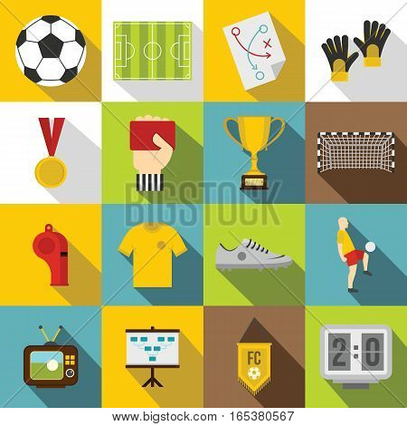 Soccer football icons set. Flat illustration of 16 soccer football vector icons for web