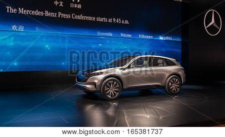 DETROIT MI/USA - JANUARY 10 2017: A Mercedes Generation EQ Concept SUV at the North American International Auto Show (NAIAS).