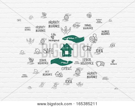 Insurance concept: Painted green House And Palm icon on White Brick wall background with  Hand Drawn Insurance Icons