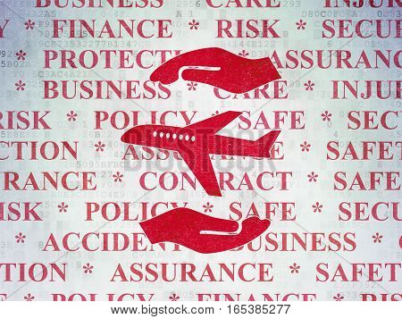 Insurance concept: Painted red Airplane And Palm icon on Digital Data Paper background with  Tag Cloud