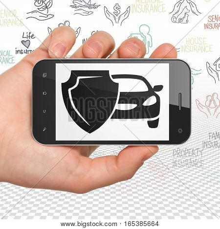 Insurance concept: Hand Holding Smartphone with  black Car And Shield icon on display,  Hand Drawn Insurance Icons background, 3D rendering