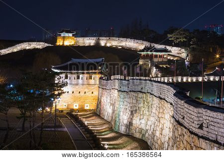 Hwaseong Fortress, Traditional Architecture Of Korea In Suwon, South Korea
