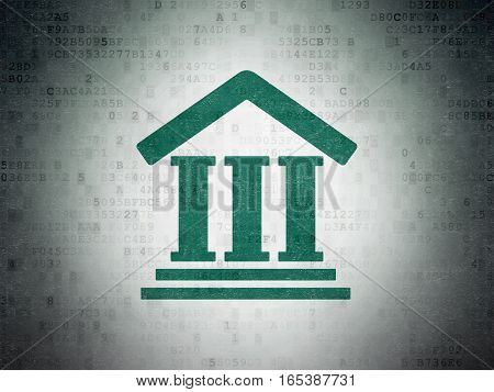 Law concept: Painted green Courthouse icon on Digital Data Paper background