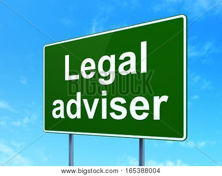 Law concept: Legal Adviser on green road highway sign, clear blue sky background, 3D rendering
