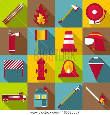 Fireman items icons set. Flat illustration of 16 fireman items vector icons for web