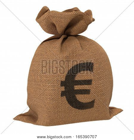 Bag from a sacking with euro sign isolated on a white background. 3D illustration