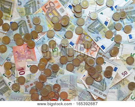 money coins and banknotes financial concept background