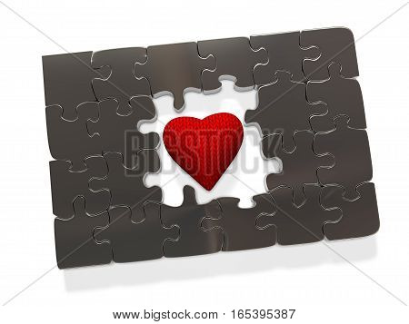 Metal puzzle in the center of which is a soft knitted heart