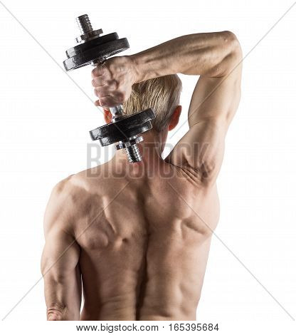 Man Standing Back Doing Exercise With Dumbbells For Triceps